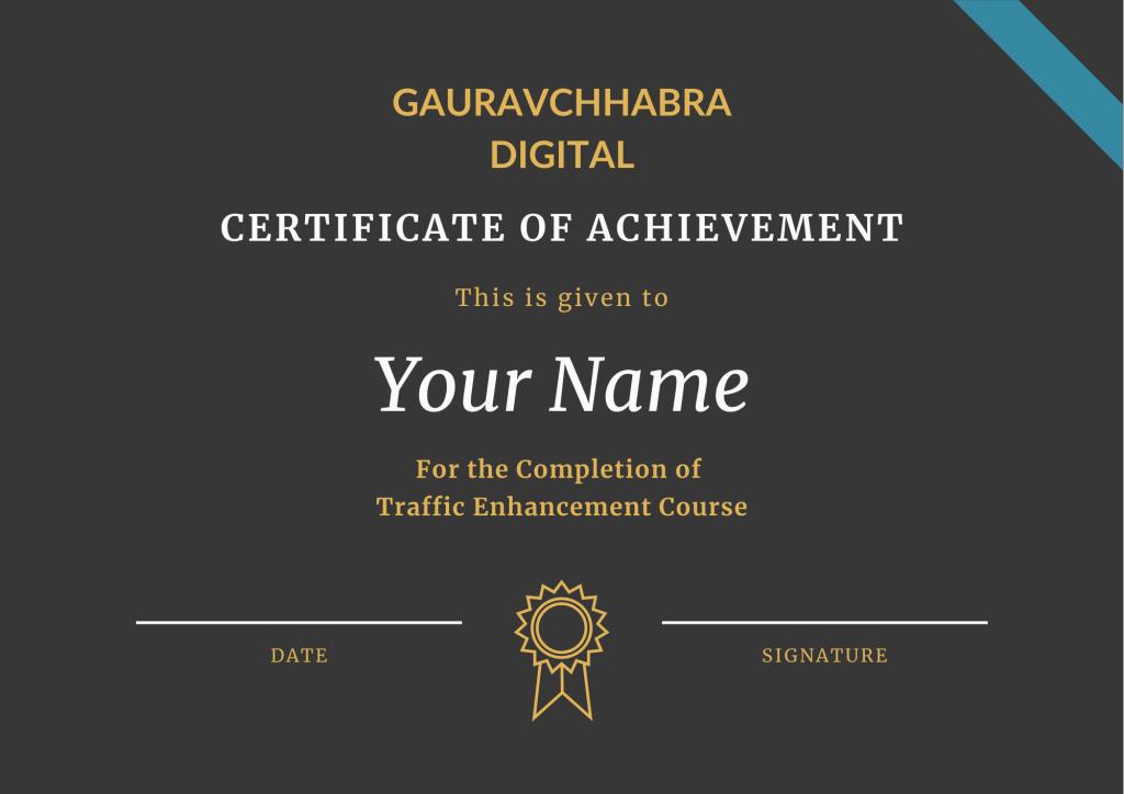 Certificate of Traffic Enhancement by Gaurav Chhabra